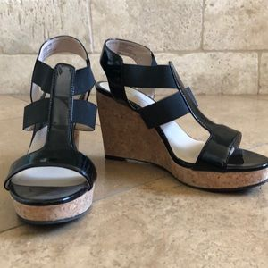 Black patten leather cork wedges